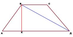 Диагональ трапеции перпендикулярна